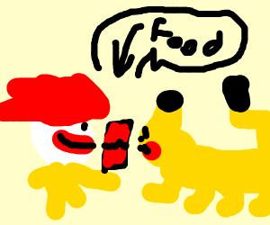 Ronald McDonald feeds Pikachu