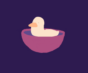 duck in kitchen bowl
