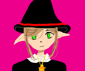 elf witch with a gold turtle necklace