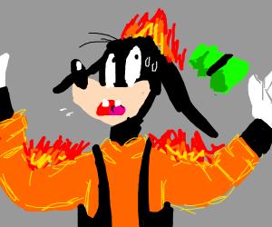 Goofy is on fire.