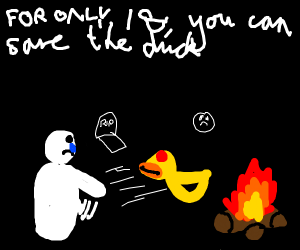 someone yeeting a duck into a fire