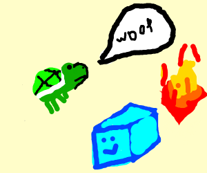 "Turtle says ""Woof"" with fire and blue cube."