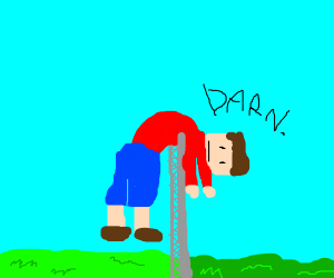 a man failed to jump the fence