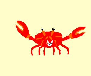 Crab with a bunny pin