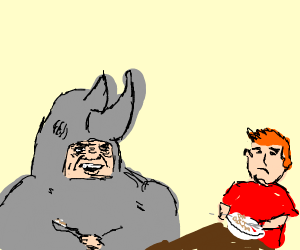 Eating breakfast with a rhino