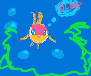 Cute goldfish under water