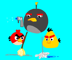 Angry Birds try cleaning