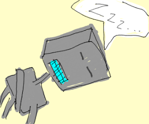 Lil' robot sleeping
