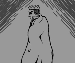 Angry King only wearing crown and cloak