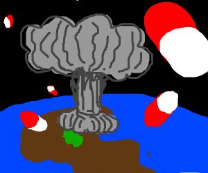 Um... Nuclear mushroom, colored pills?....