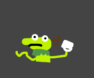 Kermit thinks over coffee