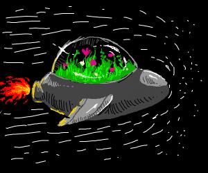 A garden in a spaceship