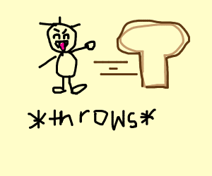a person throwing bread
