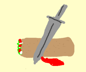 burrito being cut in half by a sword