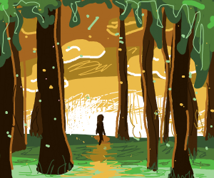 A woman takes a walk through the woods.