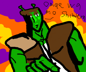 Shrek saying Omae Was Shinderu