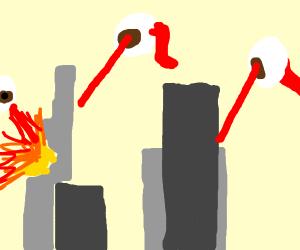 Laser flying eyes destroy the city