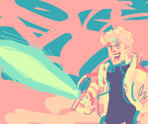 Dio holding the Master sword
