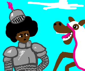 afro dude as a knight