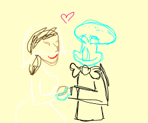 Squidward finds happiness and marries a woman
