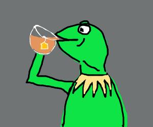 Kermit drinking iced tea