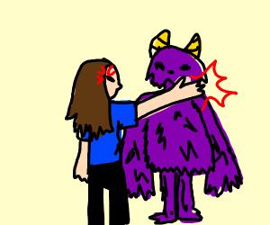 woman slaps monster