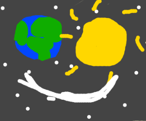 Planets and stars arranged as a smile