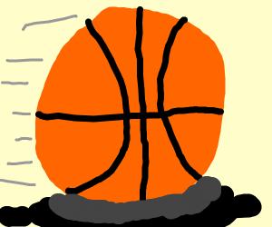Basketball rolls through oil