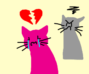 Pink cat girl gets dumped by her love.