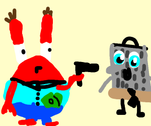 mr krabs shoots cheese grater spongebob