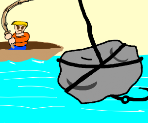 fishing man gets a rock