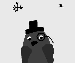 Penguin with a top hat and monacle