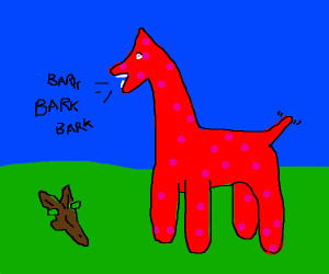 pink and red llama dog barking at a stick