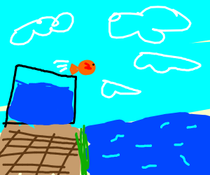 Nemo jumping out of box into water