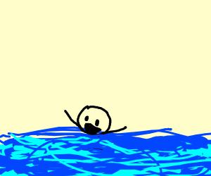 Drowning happy kid