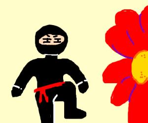 Ninja sneaks into a giant flower