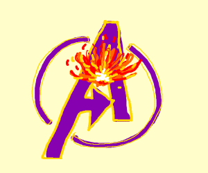 avengers logo with fire in the middle