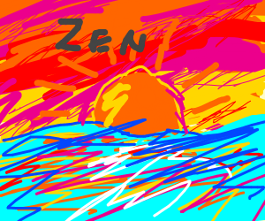 Zen written on the sky in a sunset over water