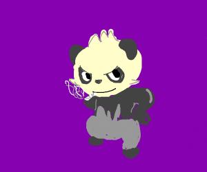 A smoking panda