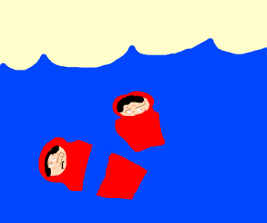 Ugly matrushka in water
