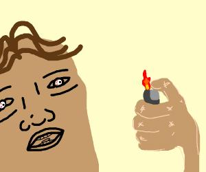 High man using a lighter