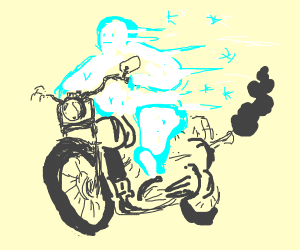 Frozen guy on a motorcycle