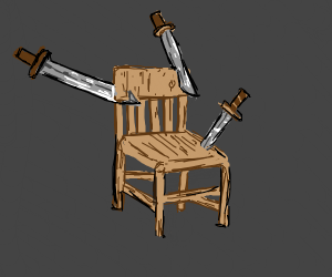 chair is stabbed by multiple swords