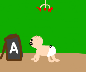 a baby learning the letter A