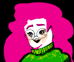 Pink haired girl with oversized sweater