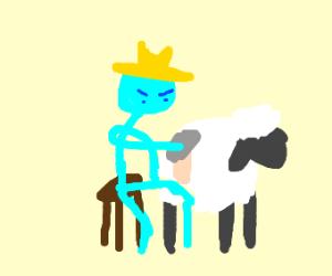 angry man shearing sheep/human hybrid