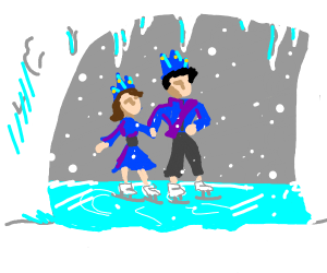 Ice King and Queen ice skating in a cave