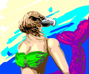 Mermaid with vulture head