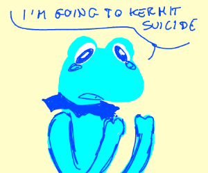 Crying blue Kermit