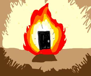 A door on fire